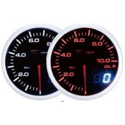 Depo Racing Digital + Analog 0~10bar oil pressure gauge, smoked lens